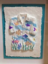 FIGI GRAPHICS FRAMED 3D HAND CAST PAPER ART HAWAIIAN SHIRT W/ TROPICAL FISH SEA