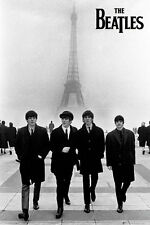 The Beatles Poster Iconic Photo Walking in Paris Eiffel Tower Poster, 24x36