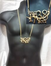 Gold Pendant Necklace Long Chain Cuban Link 1738 Remy Boys Gang Hip Hop Iced Out