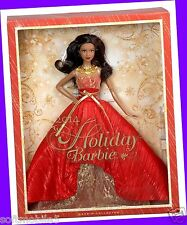 Mattel HOLIDAY BARBIE DOLL 2014 Collector Red Gold Dress AFRICAN AMERICAN Girl