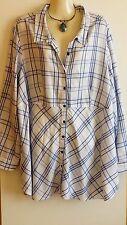 Womens Ladies Autograph Shirt Top Blouse White Blue 00110856 Plus Size 20 US 16
