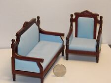 Dollhouse Miniature Living Room Sofa Chair Set Mahogany 1:12 one inch scale G69