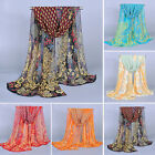 Women Lady Fashion Chiffon Peacock Scarf Soft Shawl Silk Wrap Neck Warm Stole