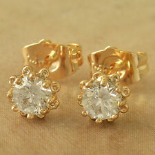 18K Yellow Gold Plated Womens Little Girls Tiny Swarovski Flower Stud Earrings