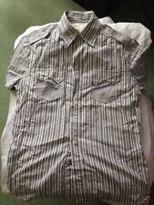 Diesel blue-white fine stripe short sleeve shirt Size Medium