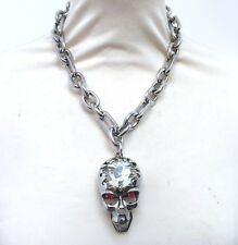 Butler and Wilson Clear Crystal Skull Moving Mouth Chunky Chain Necklace  NEW