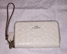 NWT Coach Signature Patent Leather Double Zip Wristlet Wallet White Chalk F53310