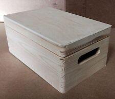* boîte de bois de pin avec couvercle et poignées 30x20x14cm DD168 enfant de stockage de mémoire (C)
