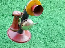 Antique/Vintage Candlestick Phone With Bell Tin & Wood Toy Candlestick Phone