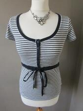 NEXT Ladies Grey White & Navy Blue Stripe Button Down Drawtie Top T Shirt Size 8