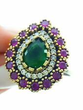 Fashion Women 925 Sterling Silver Jewelry Authentic Emerald Ring Size 9 R2318