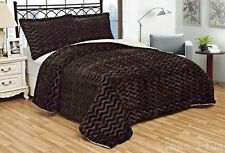 3 Piece Fur 3D Crafted Brown Plush Super Soft Sherpa Blanket King Size 8Ib