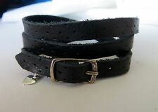 Black Leather Wrap Around Bracelet with 925 Silver Buckle with Hanging Heart