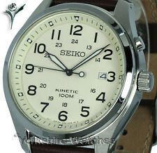 New SEIKO KINETIC CREAM FACE With BROWN LEATHER BUCKLE STRAP SKA723P1