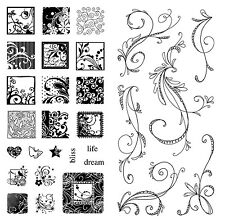 Inkadinkado Clear Stamps - Flourish Pack - 2 Stamp Sets - Flourishes