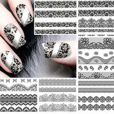 12 sheets lace water transfer nail art stickers decals decorations accessoires A