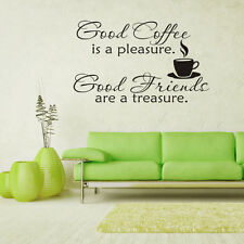 Good Coffee Friend Vinyl Wall Quotes Saying Stickers Window Home Decors Decal