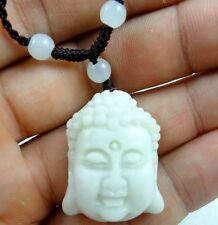 100% Chinese jade hand-carved the statue Buddha head PENDANT necklace