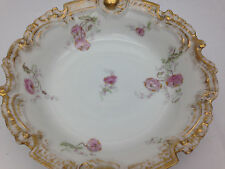 Lovely Limoges Deep Dish Bowl, pink flowers gold trim