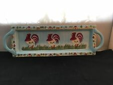 Russ Berrie and Co. Hand-painted Ceramic Rectangular  Plate with Chicken Design