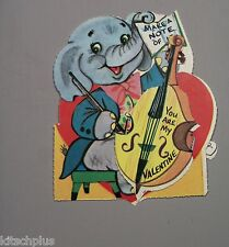 Vtg Valentine Card Elephant Musician Cello Bass Fiddle Make a Note of It UNUSED