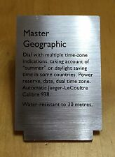 JAEGER-LECOULTRE Display Watch Plaque Window MASTER GEOGRAPHIC Le Coultre