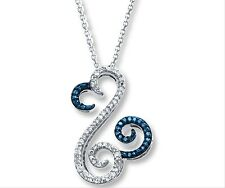 Jane Seymour Open Hearts 10K White Gold Necklace 1/6 ct tw