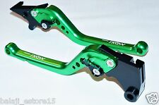 Green Long 6-Position Adjustable Brake Clutch Levers for NINJA 250R / 300R