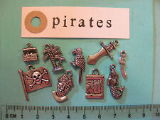 9 tibetan silver charms on pirates treasure chest parrot map mermaid palm tree