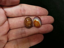 2 Pcs Of Beautiful Nepal Tibet Oval Color Banded Agate Cabochon VII