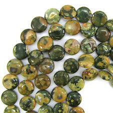 """16mm natural rhyolite coin disc beads 7.5"""" strand ryolite 12 pcs"""