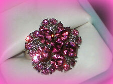 PRETTY TEEN TEENAGER PINK FLOWER RING ADJUSTABLE SZ 7/8/9~GIFT FOR GIRL HER