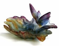 GORGEOUS DAUM NANCY PATE DE VERRE VIBRANT COLORS BUTTERFLY DISH