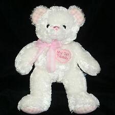 "Aurora 13"" White My First 1st Teddy Bear Pink Gingham Ears Feet Plush Baby EXC"