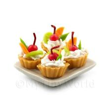 4 Dolls House Miniature Mixed Fruit Tarts on a 19mm Square Plate