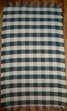 Handwoven Traditional Rag Rug, Gingham Pattern - Green, Cream w/ Red
