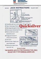 1970 71 Plymouth Valiant Duster Jacking Instructions Trunk Lid Decal 2931180 New