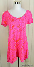 Fresh Produce S Bright Pink & Red Paisley Ikat Fly Away Hem Trapeeze Shirt Top