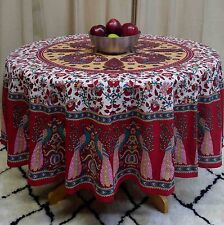 """Handmade Floral Peacock 72"""" Round 100% Cotton Tablecloth Astonishing Red"""