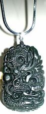 "Jadeite Jade Dragon Necklace, 20"" Long for Men & Young Men"