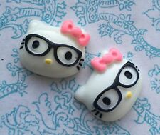 4x Nerd Hello Kitty Glasses Head Pink Bow resin cabochon embellishment flat back