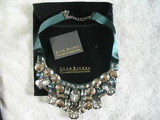 Joan Rivers Classics Collection Green & Smoke Stone Encrusted  Bib Necklace