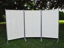 Parete divisoria DIVISORIO PARAVENTO protezione visiva 3 pezzi beige chiaro telaio in metallo NUOVO