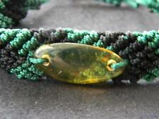 AMBER DOMINICAN REPUBLIC HAND-MADE BRACELET ADJUSTABLE UNIQUE GEM GREEN & BLACK