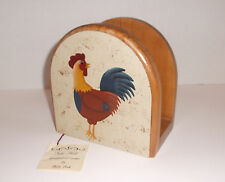 TOLE PAINTED Wooden Napkin Holder With Rooster Design