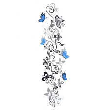 Fashion Removable PVC Black Vine Blue Butterfly Wall Sticker Decal DIY Art Decor