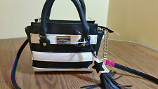 NWT $78 Betsey Johnson Sequin Stripe Crossbody Satchel Bag Black/White BM19435
