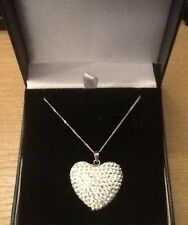 GORGEOUS BIG STERLING SILVER DIAMANTE HEART PENDANT & CHAIN NECKLACE NEW IN BOX