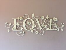SHABBY CHIC VINTAGE LARGE METAL CREAM ROSE LOVE WALL ART INDOOR/OUTDOOR