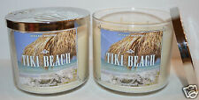 2 BATH BODY WORKS TIKI BEACH SCENTED CANDLE 3 WICK 14.5OZ ORCHID VANILLA COCONUT